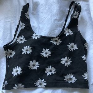 american apparel black & white flower crop top
